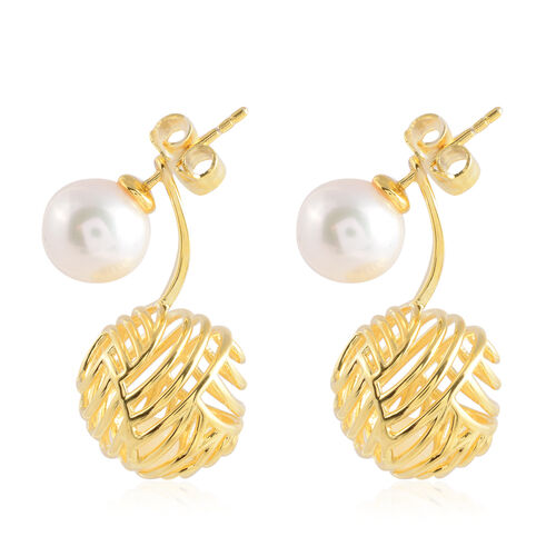 Isabella Liu - Sea Rhyme Collection - Freshwater White Pearl (Rnd), White Mother of Pearl Earrings (with Push Back) in Yellow Gold Overlay Sterling Silver