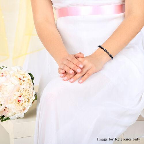 Simulated Black Crystal Beaded Stretchable Bracelet (Size 7.25)
