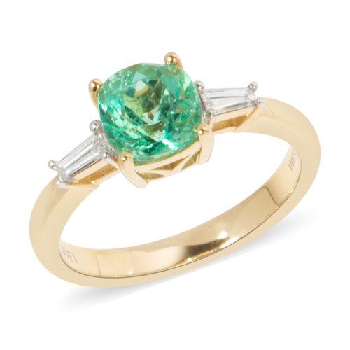 ILIANA 1.71 Ct AAA Boyaca Colombian Emerald and Diamond Ring in 18K Gold