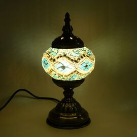 Handmade Turkish Mosaic Glass Table Lamp with Bronze Base (Size 30x11.5 Cm) - White and Blue