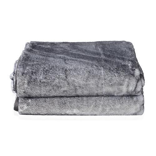 Super Soft Printed Faux Fur with Mink Blanket (Size 200x150 Cm) - Colour Grey