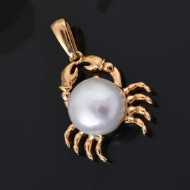 Fresh Water Pearl Crab Pendant in 14K Gold Overlay Sterling Silver