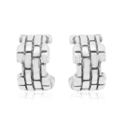 Royal Bali Collection Sterling Silver Brick Pattern J Hoop Earrings (with Push Back), Silver wt 6.05 Gms.
