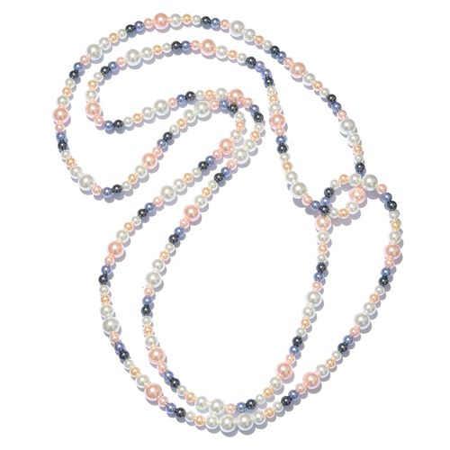Hong Kong Endless Collection - Multi Colour Simulated Pearl Beads Necklace (Size 64)