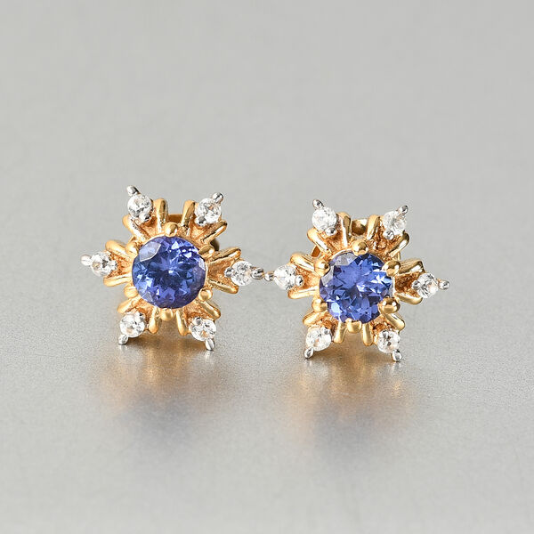 Tanzanite and Natural Cambodian Zircon Snowflake Stud Earrings (with Push Back) in 14k Gold Overlay Sterling Silver