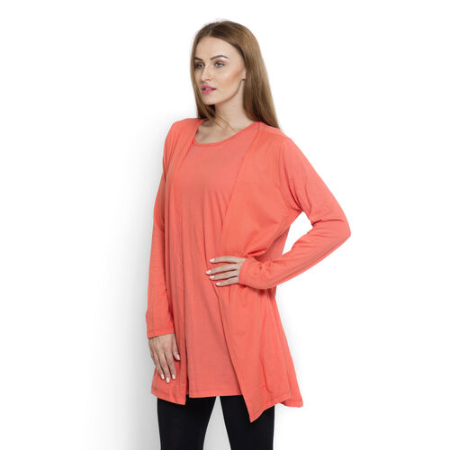 One Time Closeout Deal-Set of 2 -  100% Cotton Dark Coral Colour Long Sleeve Tank Top (Size Small / Medium)