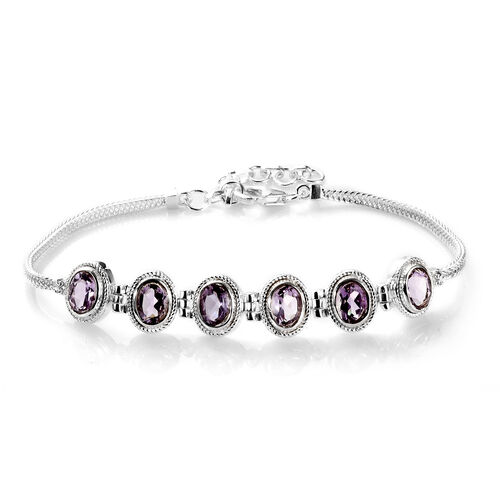 Rose De France Amethyst Bracelet (Size 7 with 1.5 inch Extender) in Sterling Silver 4.30 Ct, Silver