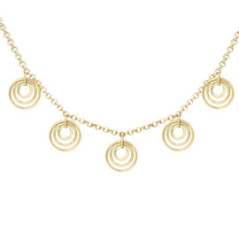Multi Circle Charm Belcher Necklace in 9K Yellow Gold 4.40 Grams 18 Inch