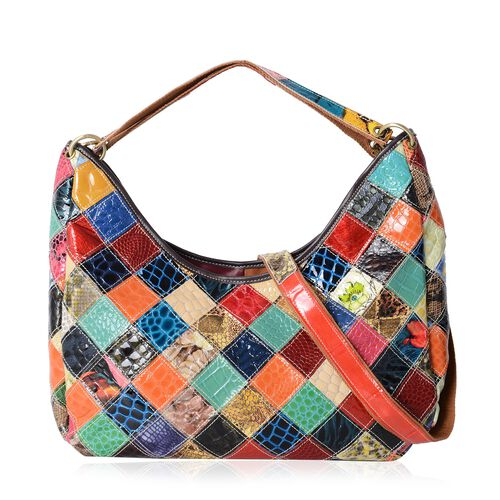 Morocco Collection Animal Embossed Block Pattern100% Genuine Leather Large Tote Bag with Adjustable and Removable Shoulder Strap (Size 41x23x9.5 Cm)
