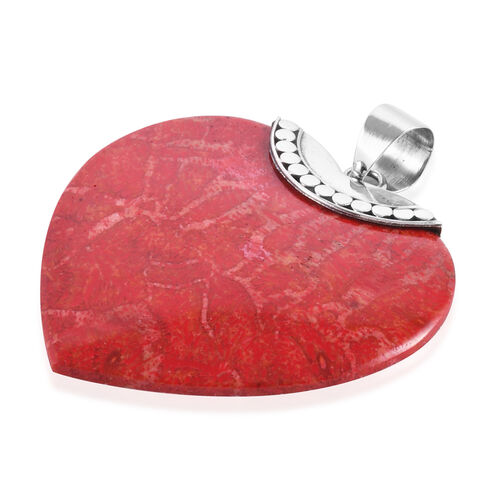 Royal Bali Collection - Coral (Hrt) Heart Pendant in Sterling Silver.
