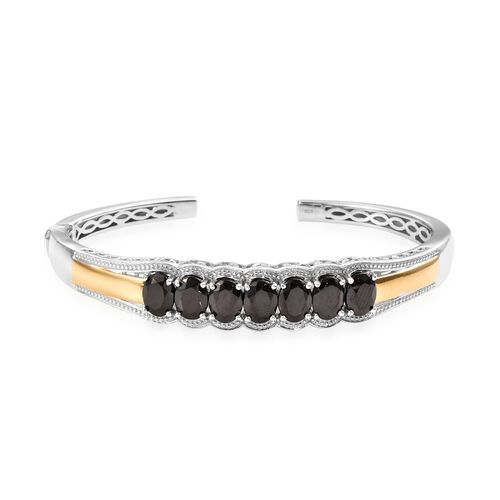 5.5 Ct Elite Shungite Cuff Bangle in Platinum and Gold Plated Silver 23 Grams 7.5 Inch