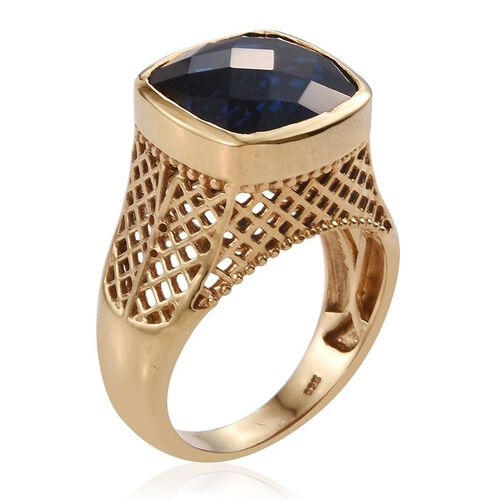 Checkerboard Cut Ceylon Colour Quartz (Cush) Ring in 14K Gold Overlay Sterling Silver 12.000 Ct.