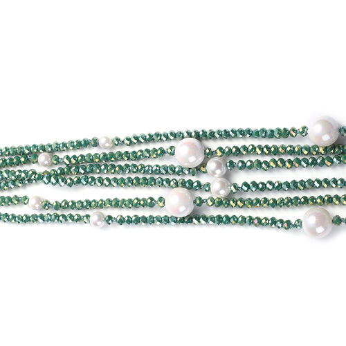 White Shell Pearl and Simulated Chrome Diopside 3-Row Necklace (Size 32 with 3 inch Extender) in Silver Tone