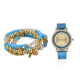 2 Piece Set - STRADA Watch with Turquoise Colour Strap and Beads Stretchable Bracelet Set