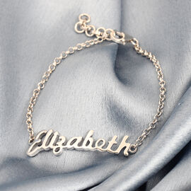 Personalised Stunning Name Bracelet in Silve, 6.5+1 Inch