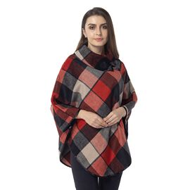 Orange, Black and Beige Colour Plaid Pattern Cape with Collar and Button (Size 81x99 Cm)