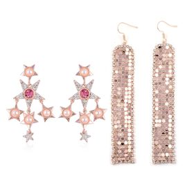 (Option 1) - Set of 2 - Simulated Pearl (Rnd), White and Pink Austrian Crystal Earrings in Rose Gold