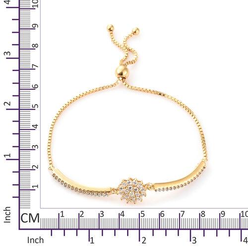 J Francis - 14K Gold Overlay Sterling Silver (Rnd) Adjustable Bracelet (Size 6.5 to 9.5) Made with SWAROVSKI ZIRCONIA , Silver wt 8.03 Gms