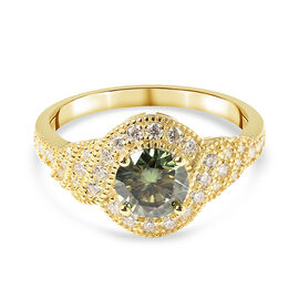 Green and White Moissanite Ring in Yellow Gold Overlay Sterling Silver 1.300 Ct.