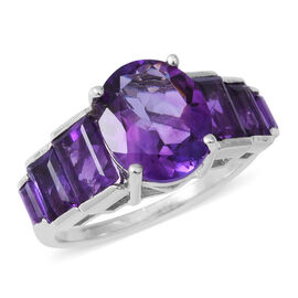 7.50 Ct Amethyst Seven Stone Ring in Rhodium Plated Sterling Silver