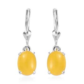 4.5 Ct Yellow Jade Solitaire Drop Earrings in Sterling Silver With Lever Back