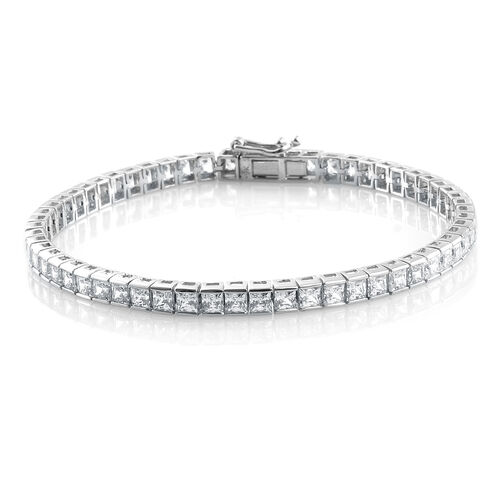 J Francis - 9K White Gold Tennis Bracelet (Size 7.5) Made with SWAROVSKI ZIRCONIA