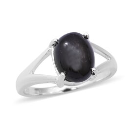 3.65 Ct Black Star Diopside Oval Shape Solitaire Ring in Sterling Silver