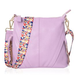 Super Soft 100% Genuine Leather Lavender Colour Multi Compartment Crossbody Bag with Detachable Cros