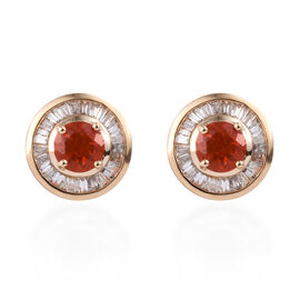 ILIANA 18K Yellow Gold AAAA Jalisco Fire Opal (Rnd), Diamond (SI/G-H) Stud Earrings (with Screw Back
