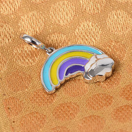 Charmes De Memoire Platinum Overlay Sterling Silver Enamelled Rainbow with Cloud Charm