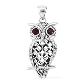 Royal Bali Collection African Ruby (Rnd) Owl Pendant in Sterling Silver, Silver Wt 6.00 gm