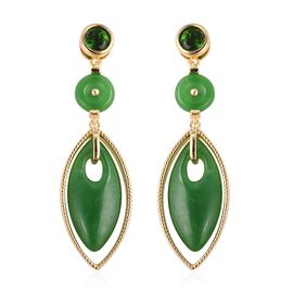 Green Jade (Mrq 22x10 mm), Russian Diopside Earrings (with Push Back) in Yellow Gold Overlay Sterlin
