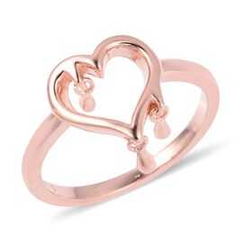 LucyQ Three Drip Heart Ring in Rose Gold Overlay Sterling Silver
