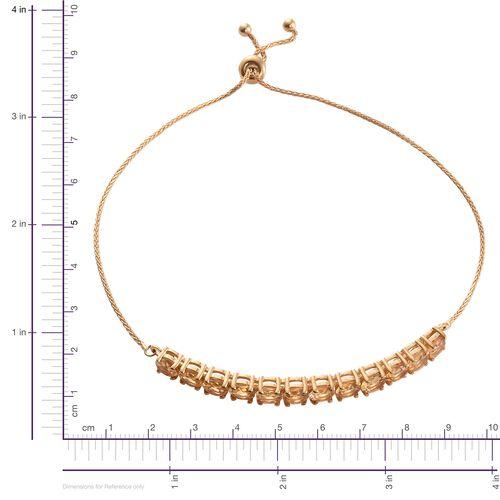 Citrine 5 Carat Silver Adjustable Bracelet in Gold Overlay (Size 6.5 to 8.5)