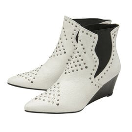 Ravel White Reefton Leather Wedge Ankle Boots