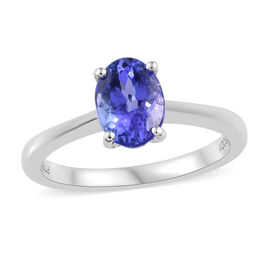 RHAPSODY 950 Platinum AAAA Tanzanite (Ovl) Solitaire Ring 1.300 Ct., Platinum wt 3.70 Gms.