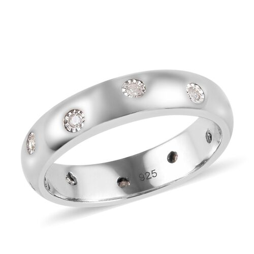 MP Diamond Ring in Platinum Overlay Sterling Silver
