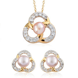 2 Piece Set- Freshwater Pink Pearl (Rnd), Natural Cambodian Zircon Pendant with Chain (Size 20) and Earrings (with Push Back) in 14K Gold Overlay Sterling Silver