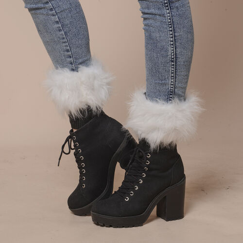 2 Piece Set - Faux Fur Collar Scarf (Size 96x14.5cm) and Boot Cuffs (Size 16.5x14.5cm) - White
