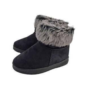 'Ladies Faux Fur Flat Warm Ankle Boots In Black