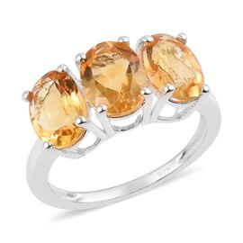 3.50 Ct Citrine Trilogy Ring in Sterling Silver