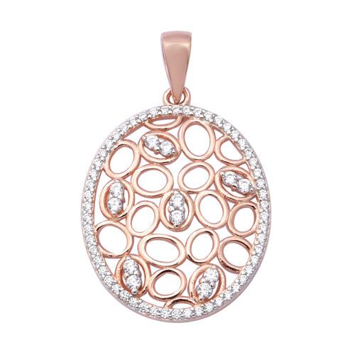 ELANZA Simulated Diamond Pendant in Rose Gold Overlay Sterling Silver
