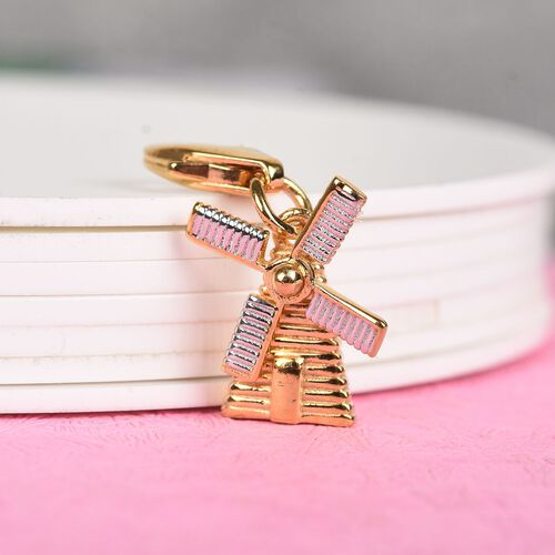 Platinum and Yellow Gold Overlay Sterling Silver Windmill Charm