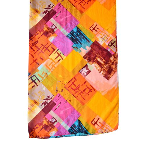 Designer Inspired - 100% Mulberry Silk Orange, Blue and Multi Colour Abstract Printed Scarf (Size 180X110 Cm)