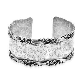 Royal Bali Collection - Sterling Silver Cuff Bangle (Size 7.25), Silver wt 30.70 Gms