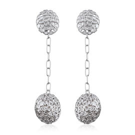 5 Ct Polki Diamond Dangle Earrings in Platinum Plated Sterling Silver 10.19 Grams