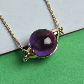 Sundays Child - 9K Yellow Gold Zambian Amethyst, Tsavorite Granet Necklace (Size 20) 4.40 Ct.