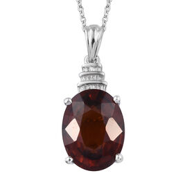 11 Carat Ratnapura Hessonite Garnet and Diamond Drop Pendant with Chain in Sterling Silver