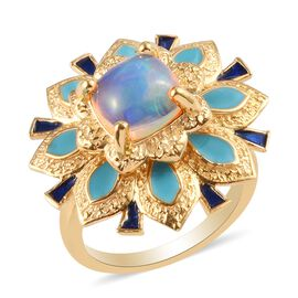 GP AA Ethiopian Welo Opal and Blue Sapphire Enamelled Ring in 14K Gold Overlay Sterling Silver 1.35