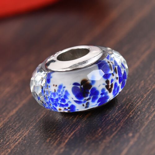 Charmes De Memoire Blue, White and Brown Murano Style Glass Bead Charm in Platinum Plated Silver